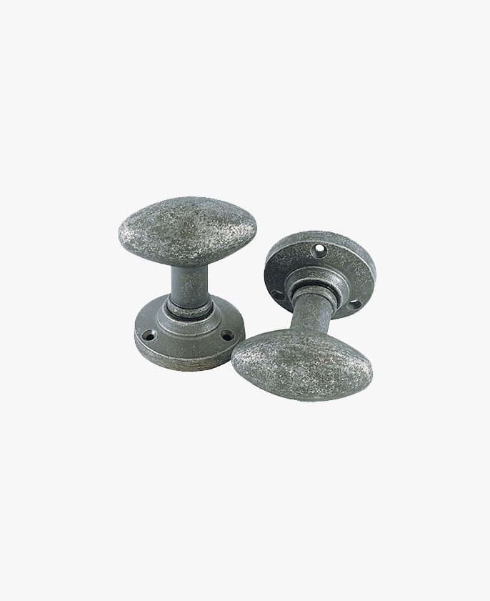 PEWTER OVAL MORTICE KNOB