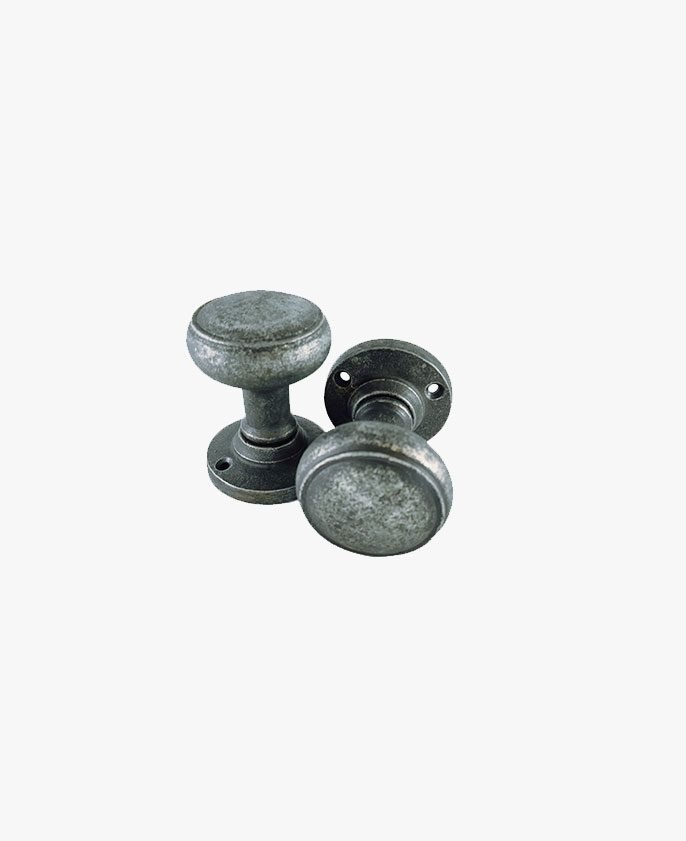 PEWTER RIBBED MORTICE KNOB
